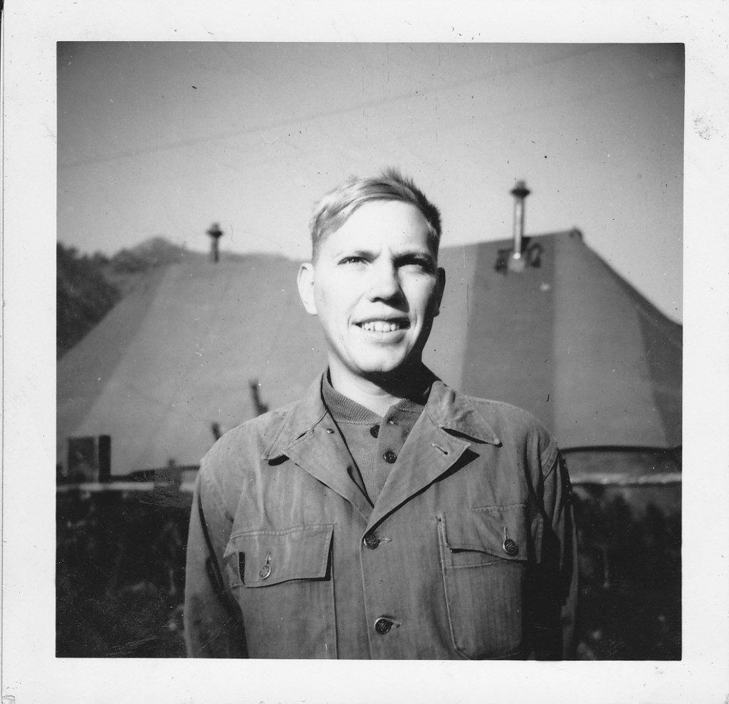 Arnold Sidney Thorin posing for a self portrait while in Korea during the war.